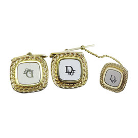 Christian Dior Gold Tone Hardware Set of Cufflinks and Tie Pin