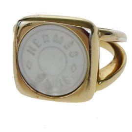 Hermes Sellier Shell Gold Tone Hardware Vintage Ring Size 6.5