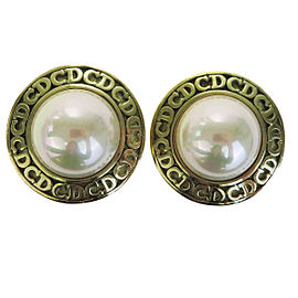 Christian Dior Gold Tone Hardware with Imitation Pearl Earrings