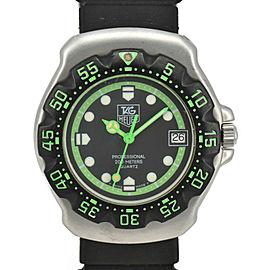 TAG HEUER Formula 1 375.513 Black/Green Dial SS/Rubber Quartz Boys Watch
