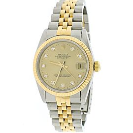 Rolex Datejust 68273 18K Yellow Gold Stainless Steel Champagne Diamond Automatic 31mm Womens Watch