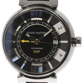 Louis Vuitton Tambour GMT Q113K Stainless Steel & Rubber Automatic 41mm Mens Watch