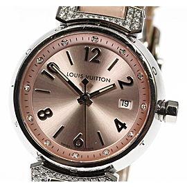 Louis Vuitton Tambour Q121Y Stainless Steel & Leather Quartz 28mm Womens Watch