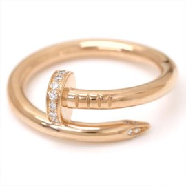 Cartier Juste Un Clou 18K Pink Gold & 0.13ct Diamond Ring Size 9.5