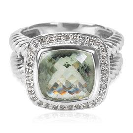 David Yurman Albion 925 Sterling Silver 0.33ctw. Diamond & Parasiolite Ring Size 6.5