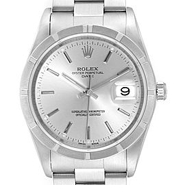Rolex Date Silver Dial Oyster Bracelet Steel Mens Watch 15210 Box Papers
