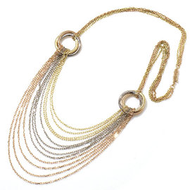 Cartier Trinity 18K Yellow White Rose Gold Drape Necklace