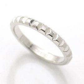 Boucheron Clou De Paris 18K White Gold Ring Size 7.75