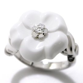 Chanel 18K White Gold with Diamond and Ceramic Camelia Ring Size 7