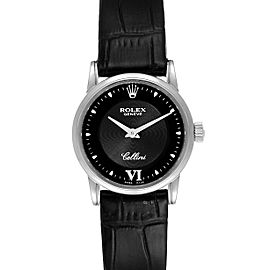 Rolex Cellini Classic 18k White Gold Black Dial Ladies Watch