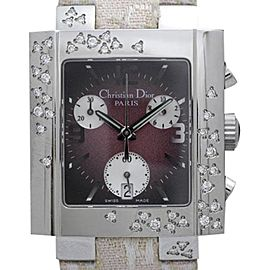Christian Dior Riva D81-101 Stainless Steel & Leather Quartz 24mm Womens Watch