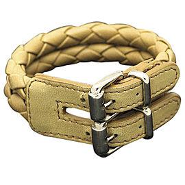Bulgari Leather & Silver Tone Hardware Bottega Veneta Belt Twice Bracelet