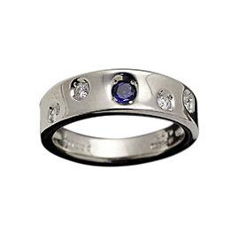 Mikimoto Platinum 0.13ct Sapphire & 0.11ct Diamond Ring Size 6.5