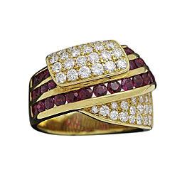 Damiani 18K Yellow Gold Diamond & Ruby Ring Size 7