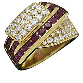 Damiani 18K Yellow Gold Diamond & Ruby Ring Size 7