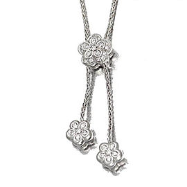 Damiani 18K White Gold With Diamond Flower Necklace