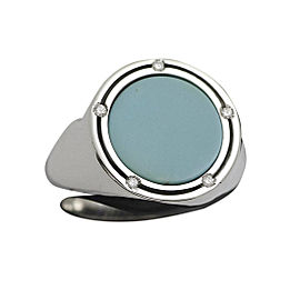 Damiani 18K White Gold With Diamond & Turquoise D Side Ring Size 7