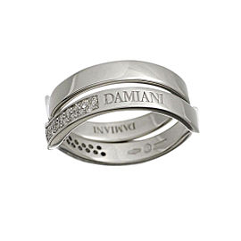 Damiani 18K White Gold With Diamond 2 Set Ring Size 7