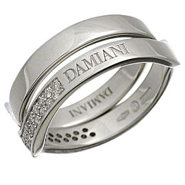 Damiani 18K White Gold With Diamond 2 Set Ring Size 7