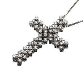 Damiani 18K White Gold With Diamond Cross Motif Necklace