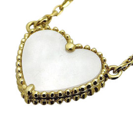 Van Cleef & Arpels Lucky Alhambra 18K Yellow Gold with Shell Heart Necklace