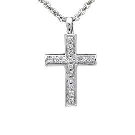 Bulgari 18K White Gold with Demi Pave Diamond Latin Cross Necklace