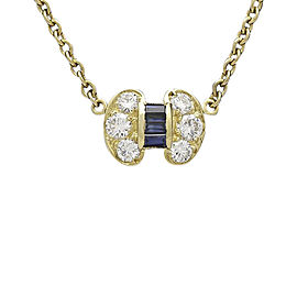 Van Cleef Arpels 18K Yellow Gold with 0.45ct Diamond and 0.21ct Blue Sapphire Celestine Necklace