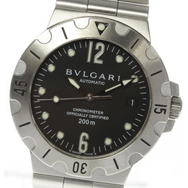 Bulgari Diagono Scuba SD38S Stainless Steel Black Dial Automatic 38mm Men's Watch