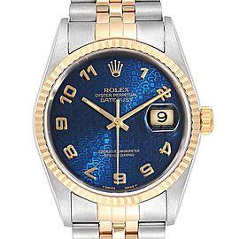 Rolex Datejust Steel Yellow Gold Blue Anniversary Dial Mens Watch 16233