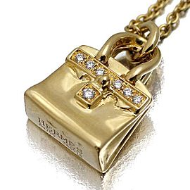 Hermes 18K Yellow Gold With Diamond Kelly Bag Motif Necklace
