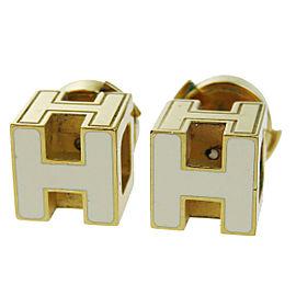 Hermes Gold Tone Hardware Paris H Logo Earrings