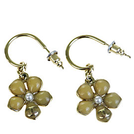 Chanel Gold-Tone Hardware CC Simulated Glass Pearl Flower Earrings