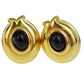 Fendi Logo Gold-Tone Hardware Black Stone Vintage Earrings