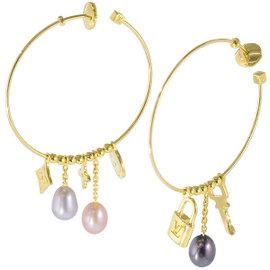 Louis Vuitton 18K Yellow Gold Monogram Freshwater Cultured Pearl Hoop Earrings