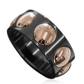 Louis Vuitton 18K Pink Gold & Ceramic Grand Berg Crew Ring Size 11