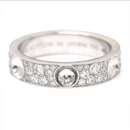 Louis Vuitton 18K White Gold & Diamond Petit Berg Empreinte Ring Size 8.25