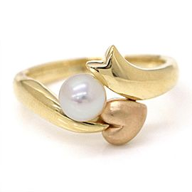 Mikimoto 18K Yellow and Rose Gold with Akoya Cultured Pearl Ring Size 7