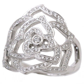 Piaget 18K White Gold with Diamond Rose Ring Size 7.25