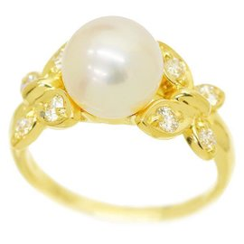 Christian Dior 18K Yellow Gold with Cultured Akoya Pearl & Diamond Ring Size 6