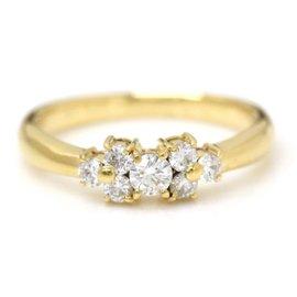 Mikimoto 18K Yellow Gold with 0.26ct Diamond Ring Size 4.5