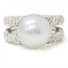 Mikimoto 18K White Gold with Cultured Pearl and Diamond Ring Size 6