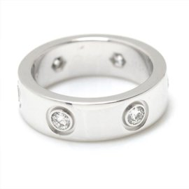 Cartier Love 18K White Gold with 0.45ct Diamond Ring Size 4