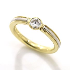 Yves Saint Laurent 18K Yellow Gold & 900 Platinum 0.30ct Diamond Ring