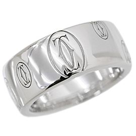 Cartier Happy Birthday 18K White Gold Logo Ring Size 5.5