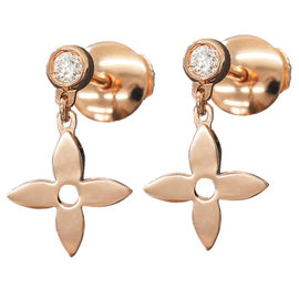 Louis Vuitton 18K Pink Gold & Diamond Monogram Idylle Earrings