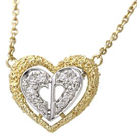Christian Dior 18K Yellow and White Gold with Diamond Heart Pendant Necklace