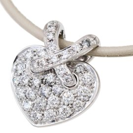 Chaumet Liens 18K White Gold and Diamond Heart Pendant Necklace