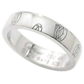 Cartier Happy Birthday Logo 18K White Gold Band Ring Size 3.25