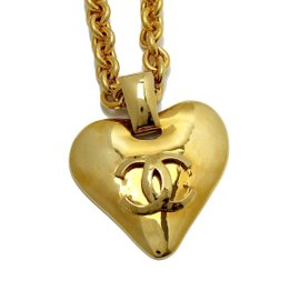 Chanel Gold Tone Hardware CC Mark Logo Heart Gold Long Vintage Necklace