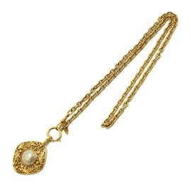 Chanel Gold Tone Hardware with Faux Pearl Pendant Necklace